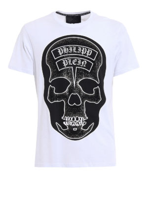 Philipp Plein: t-shirts - Sata embellished white Tee