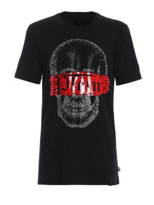 PHILIPP PLEIN: t-shirt - T-shirt Speed con teschio di strass