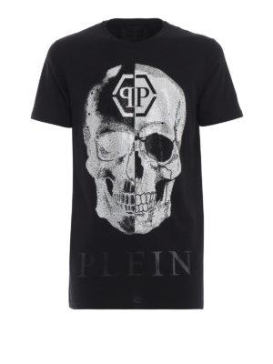 PHILIPP PLEIN: t-shirt - T-shirt nera in cotone Talk Black Cut