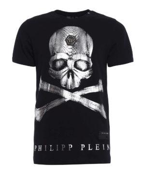 Philipp Plein: t-shirts - U now metallic Skull print Tee