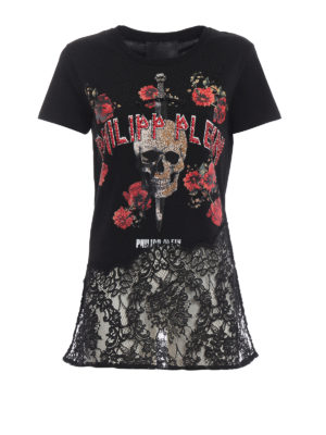 PHILIPP PLEIN: t-shirt - T-shirt You and I in cotone e pizzo