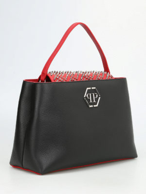Philipp Plein: totes bags online - War studded leather bag