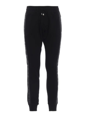 PHILIPP PLEIN: pantaloni sport - Pantaloni della tuta in cotone Black Bands