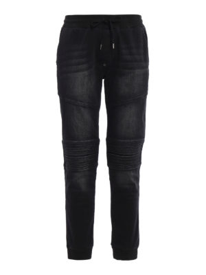 Philipp Plein: tracksuit bottoms - Controversia denim pull on trousers