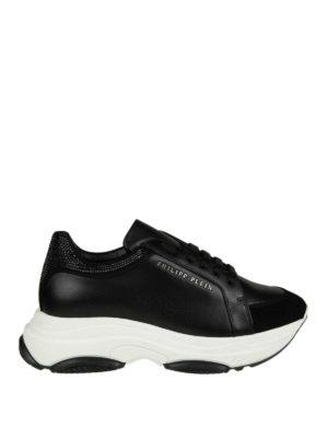 PHILIPP PLEIN: sneakers - Sneaker nere in pelle e suede con strass