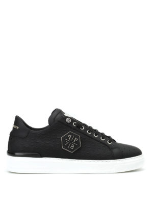 Philipp Plein: trainers - Ebony black leather sneakers