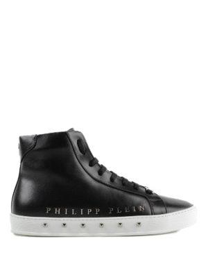 PHILIPP PLEIN: sneakers - Sneaker alte nere Good Time in pelle