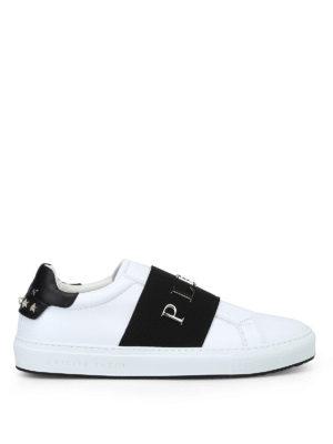 PHILIPP PLEIN: sneakers - Sneaker in pelle bianca Johnson 12