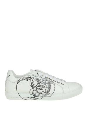 PHILIPP PLEIN: sneakers - Sneaker Lo-top Skull in pelle bianca