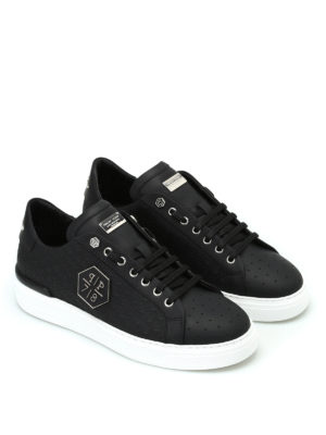 Philipp Plein: trainers online - Ebony black leather sneakers