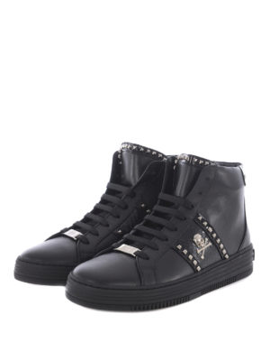 Philipp Plein: trainers online - Studded leather high top sneakers