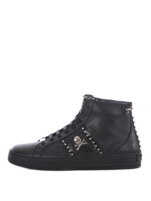 Philipp Plein: trainers - Studded leather high top sneakers