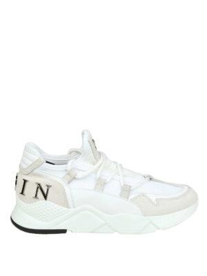 PHILIPP PLEIN: sneakers - Sneaker da runner in camoscio e tessuto