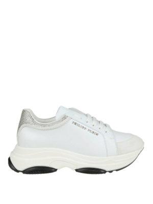 PHILIPP PLEIN: sneakers - Sneaker bianche in pelle e suede con strass