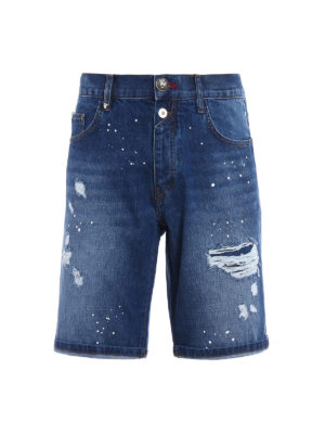 Philipp Plein: Trousers Shorts - Gotham used effect denim shorts