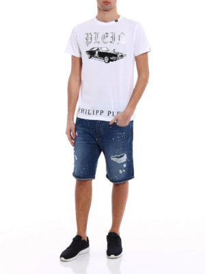 Philipp Plein: Trousers Shorts online - Gotham used effect denim shorts