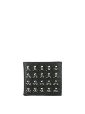 Philipp Plein: wallets & purses - Menadel leather wallet with skulls