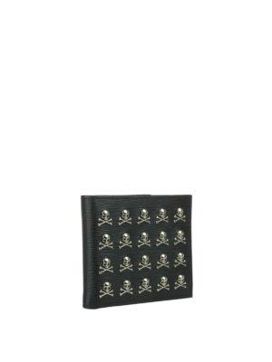 Philipp Plein: wallets & purses online - Menadel leather wallet with skulls