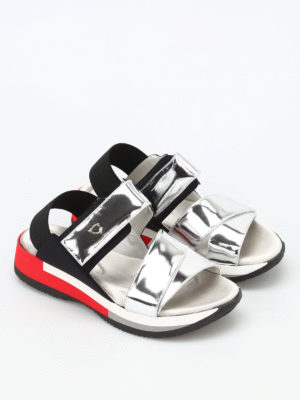 Philippe Model: sandals online - Anemone metallic leather sandals