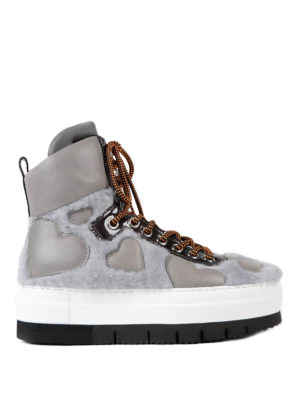 Philippe Model: trainers - Adele fur inserts high top sneakers