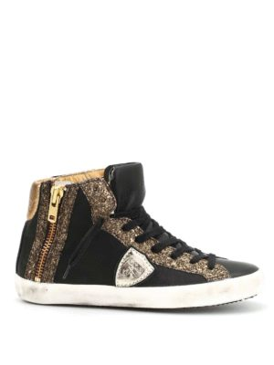 Philippe Model: trainers - Bike glittered high-top sneakers