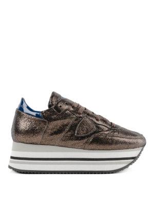 PHILIPPE MODEL: sneakers - Sneaker con plateau Eiffel in pelle bronzo