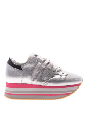 Philippe Model: trainers - Eiffel platform silver sneakers