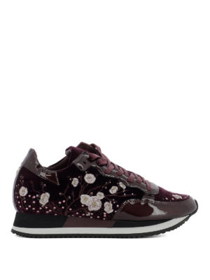 Philippe Model: trainers - Embroidered velvet purple sneakers