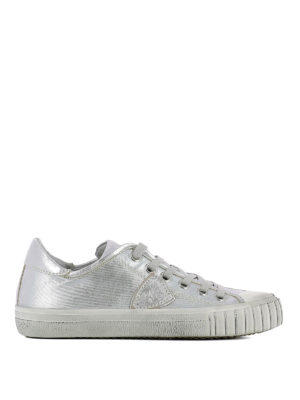 Philippe Model: trainers - Gare coated silver canvas sneakers