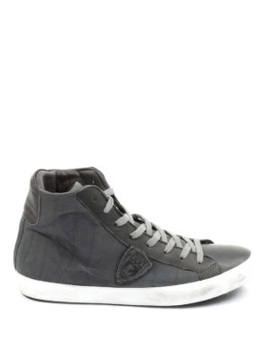 Philippe Model: trainers - High top grey leather sneakers