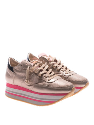 Philippe Model: trainers online - Eiffel platform champagne sneakers