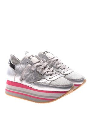 Philippe Model: trainers online - Eiffel platform silver sneakers