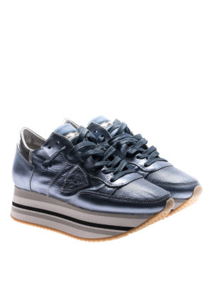 Philippe Model: trainers online - Eiffel platform sky blue sneakers