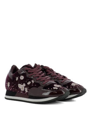 Philippe Model: trainers online - Embroidered velvet purple sneakers