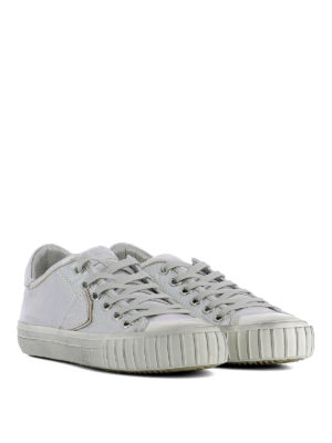Philippe Model: trainers online - Gare coated silver canvas sneakers