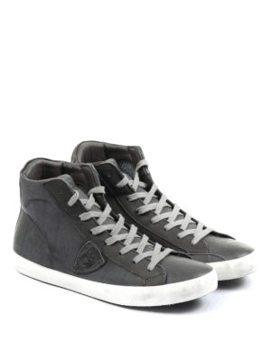 Philippe Model: trainers online - High top grey leather sneakers