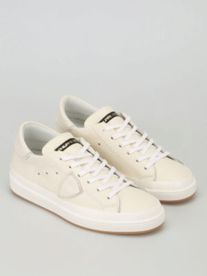 Philippe Model: trainers online - Opera ivory leather sneakers