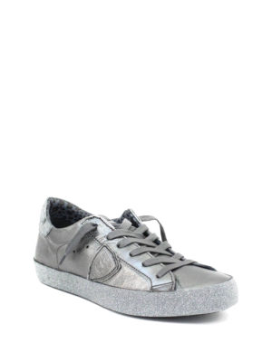 Philippe Model: trainers online - Paris leather and glitter sneakers