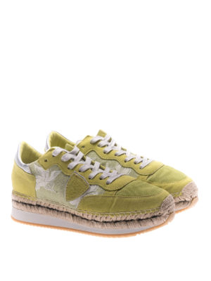 Philippe Model: trainers online - Saint Tropez lime suede sneakers