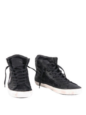 Philippe Model: trainers online - Sequined leather high top sneakers