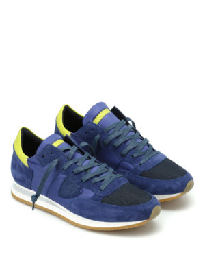 Philippe Model: trainers online - Tropez blue suede and nylon sneaker