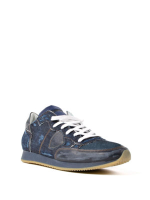 Philippe Model: trainers online - Tropez denim and nubuck sneakers