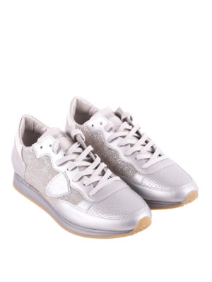 Philippe Model: trainers online - Tropez leather and lurex sneakers