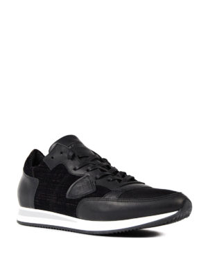 Philippe Model: trainers online - Tropez leather and velvet sneakers