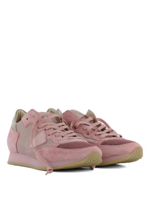 Philippe Model: trainers online - Tropez pink suede & nylon sneakers