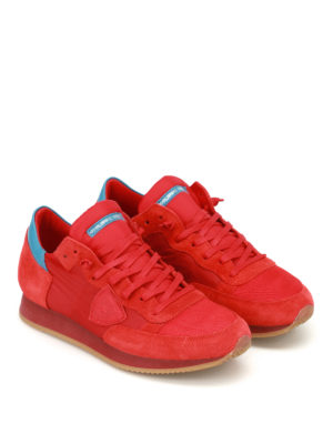 Philippe Model: trainers online - Tropez red nylon and suede sneakers
