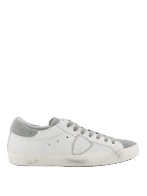 PHILIPPE MODEL: sneakers - Sneaker Paris basse in suede bianco e grigio