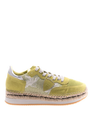 Philippe Model: trainers - Saint Tropez lime suede sneakers