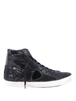 Philippe Model: trainers - Sequined leather high top sneakers