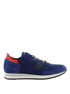 PHILIPPE MODEL: sneakers - Sneaker Tropez in nylon e suede blu e rosso